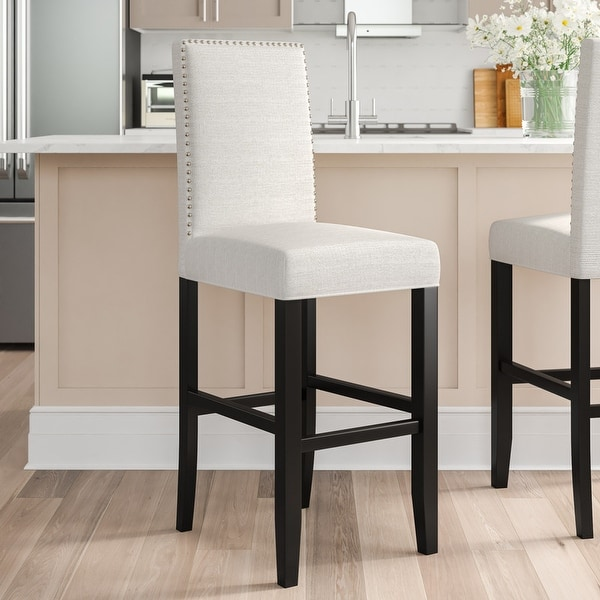 Linon James White Fabric 30-inch Bar Stool. Opens flyout.