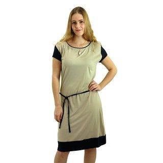 SignatureWeaves Women's Teal and Grey tunic dress with embellished neckline