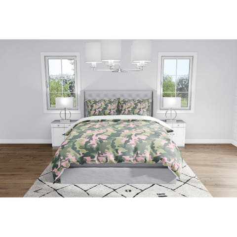 CAMO FLOW PINK AND GREEN Duvet Cover By Kavka Designs