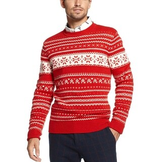 Tommy Hilfiger Fair Isle Lambswool Blend Crewneck Sweater Red and White XX-Large