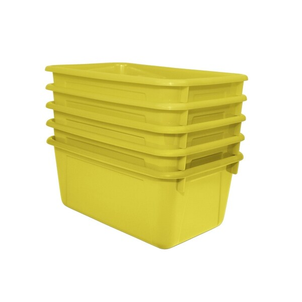 School Smart Stackable Tote Tray, 12 x 8 x 5 Inches, Yellow, Pack of 5