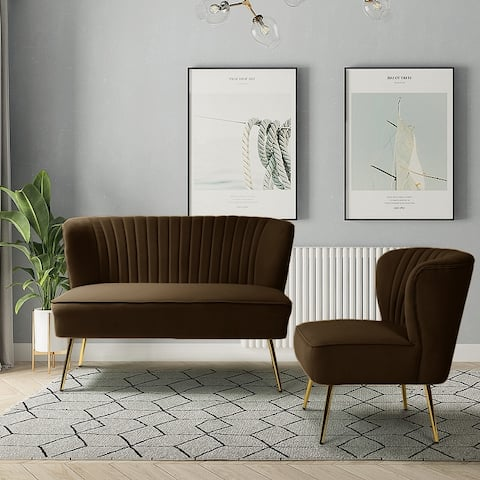 Monica Upholstered Loveseat with Recessed Arms