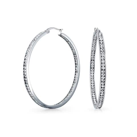 Round Channel Set CZ Inside Out Large Hoop Earrings For Women 14K Silver Tone Stainless Steel 2 In Dia