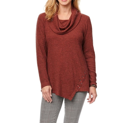 Democracy Women's Sweater Red Size Large L Tunic Cowl Neck Lace Up