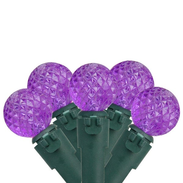 "Set of 50 Purple LED G12 Berry Christmas Lights 4"" Bulb Spacing - Green Wire"