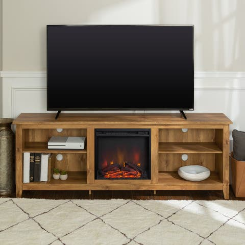 70-inch Fireplace TV Console with Adjustable Shelving