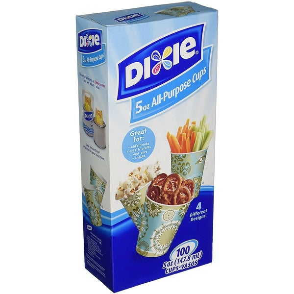 Dixie 45100 Everyday All-Purpose Disposable Cups, Assorted Designs, 5 Oz,  100-Pk