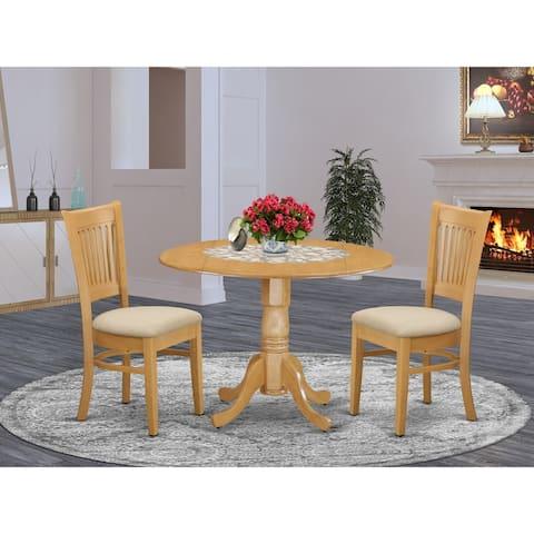 3 Pc Kitchen nook Dining set-Kitchen Table and 2 slat back Chairs (Finish Option)