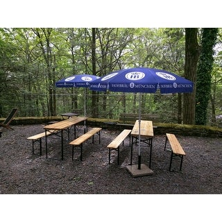 Costway 3 PCS Beer Table Bench Set Folding Wooden Top Picnic Table Patio Garden  sc 1 st  Overstock.com & Costway 3 PCS Beer Table Bench Set Folding Wooden Top Picnic Table ...