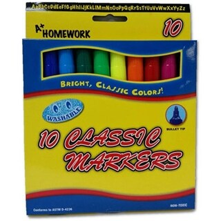 A Plus Homework Markers Classic Watercolor Pack of 10 - Case of 48
