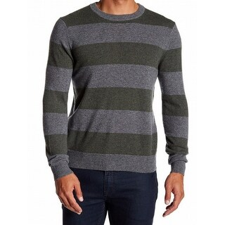 Qi NEW Green Rugby Striped Mens Size XL Crewneck Cashmere Sweater