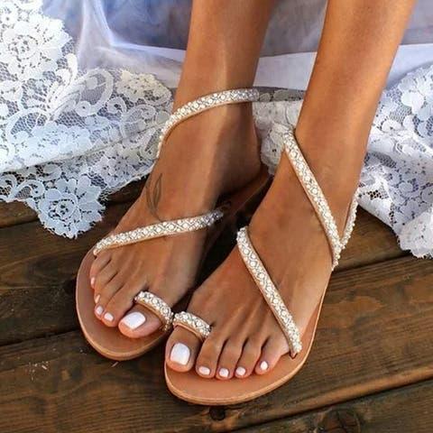 Set-Toe Beach Sandals Women's Flat Rhinestones Plus Size