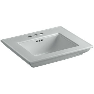 "Kohler K-2345-4  Memoirs Stately 15-1/2"" Fireclay Pedestal Bathroom Sink with 3 Holes Drilled and Overflow"