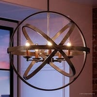 """Luxury Vintage Chandelier, 22.75""""H x 23""""W, with Transitional Style, Sphere Design, Estate Bronze Finish"""