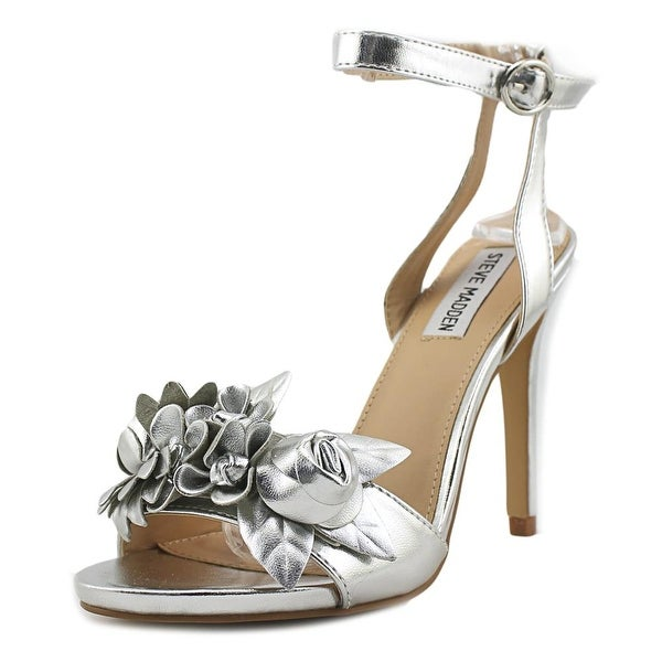 Steve Madden Sessie Women Open Toe Synthetic Silver Sandals