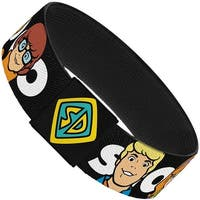 Scooby Doo 5 Character Faces Black White Elastic Bracelet