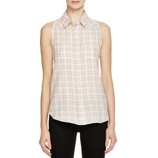 Paige Womens Tank Top Plaid Collared