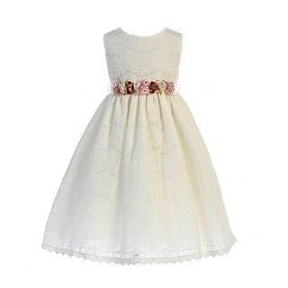 Crayon Kids Little Girls Ivory Floral Adorned Lace Flower Girl Dress