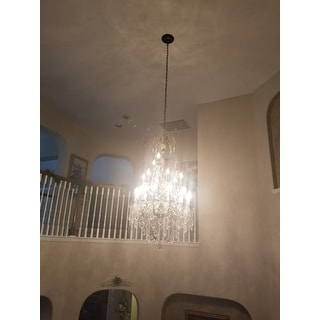 French Imperial Collection 21 Light Antique Bronze Finish and Clear Crystal Chandelier 29 x 50 Thr
