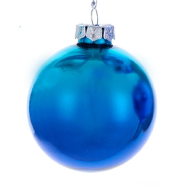 "3"" Regal Peacock Teal and Fuchsia Glass Ball Decorative Christmas Ornament - BLue"
