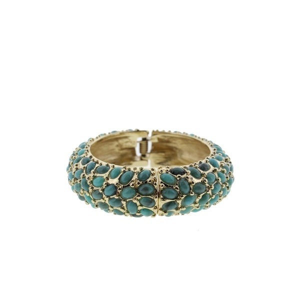 Jardin Womens Turks and Caicos Bangle Bracelet Gold-Plated Turquoise - Gold/Turquoise