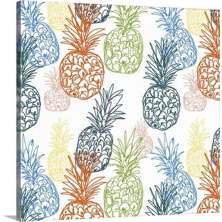 """""""Happy Pineapples"""" Canvas Wall Art"""