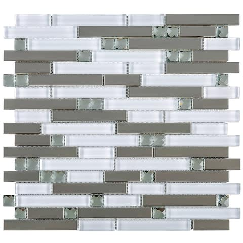 TileGen. Crystal Diamond Random Sized Metal and Glass Mosaic Tile in White/Silver Wall Tile (10 sheets/9.6sqft.)