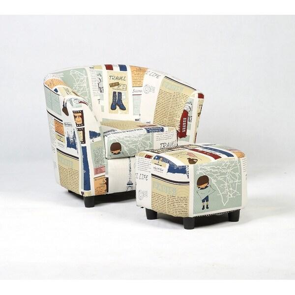 Costway Kids Sofa Chair Couch Children Furniture Canvas Birthday Gift W Ottoman