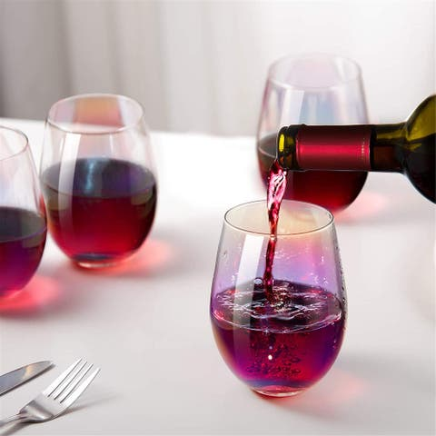 Rainbow Wine Glasses Stemless Goblet Beverage Cups - 18oz, Set of 4, Ideal for Cocktails & Scotch, Perfect for Homes & Bars