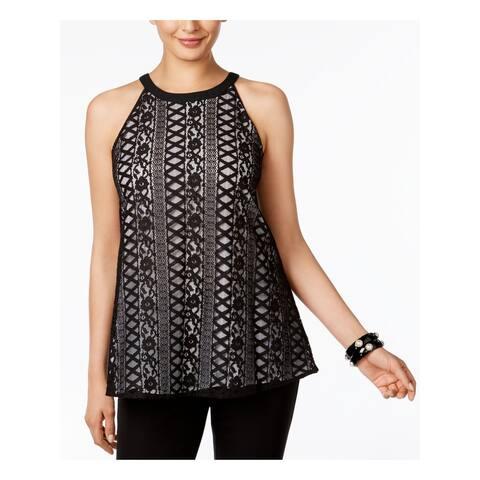 ALFANI Womens Black Lace Sleeveless Jewel Neck Top Size 10