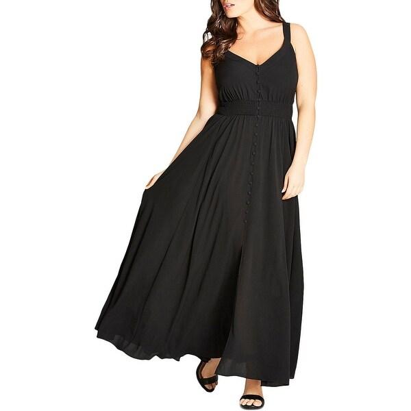 f9b6d0ad26a11 Shop City Chic Womens Maxi Dress Button-Front Sleeveless - Free ...