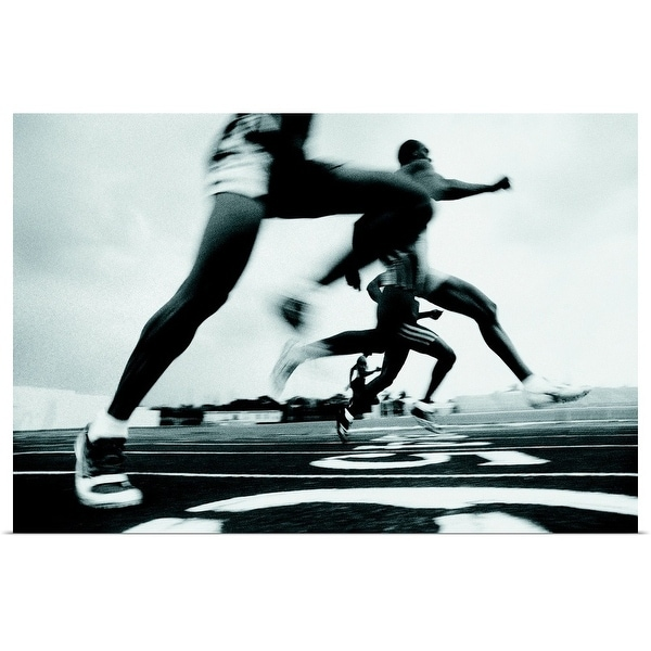 """""""Runners racing on track"""" Poster Print"""