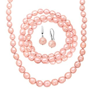 Honora Pink Freshwater Ringed Pearl Earring, Bracelets & Necklace Set in Sterling Silver