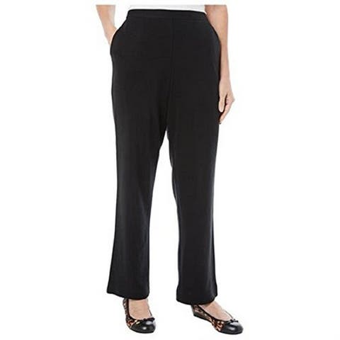 Alfred Dunner Pull-On Pants Straight Leg Black 18 S