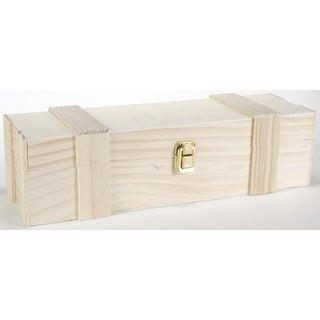 "Wooden Hinged Wine Box W/Clasp-14.1""X4.52""X3.93"""