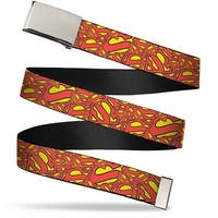 Blank Chrome  Buckle Super Shield Stacked Yellow Red Webbing Web Belt - S