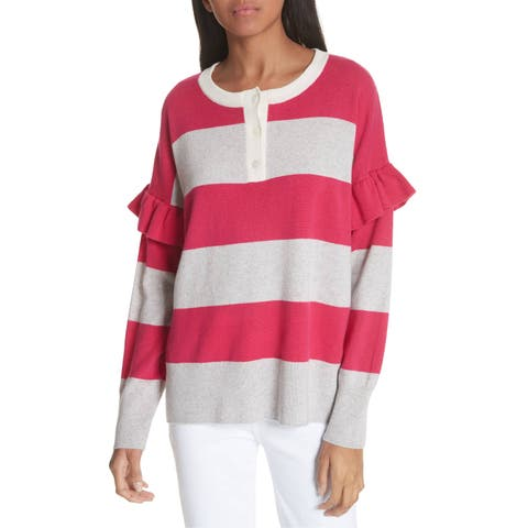 Joie Pink Womens Size XXS Striped Ruffle-Trim Pullover Sweater