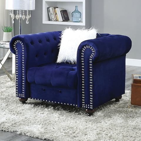 Furniture of America Resserie Glam Fabric Button Tufted Chair