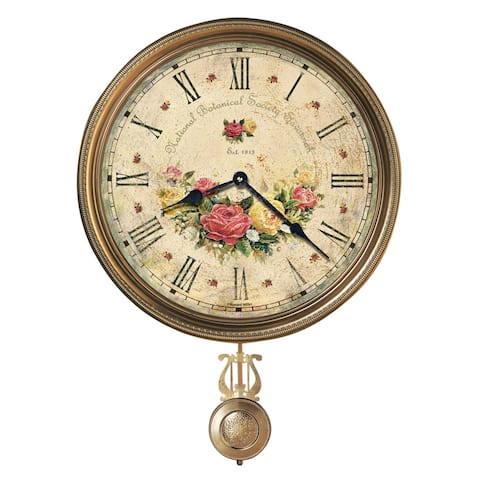 Howard Miller Savannah Botanical VII Rustic, Floral, Farmhouse, Old World Style Distressed, Round Wall Clock with Pendulum