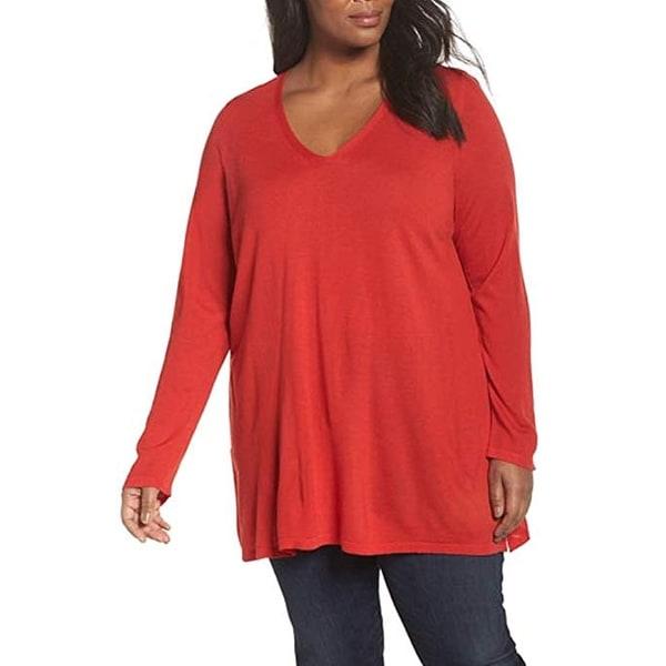 Eileen Fisher Ultrafine Merino V-Neck Tunic Sweater, Lava,1X. Opens flyout.