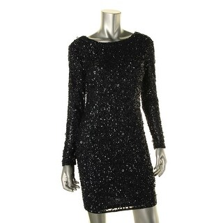 Adrianna Papell Womens Sequined Long Sleeves Cocktail Dress - 8