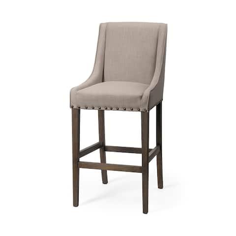 "Mercana Kensington 32"" Seat Height Beige Fabric Seat Brown Wood Base Stool"