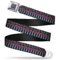 Rz Plaid Stripes Full Color Gray Black Pink Blue Greens Rz Plaid Stripes Seatbelt Belt