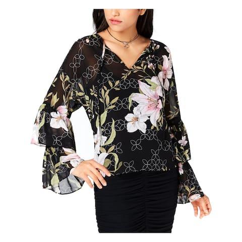 Guess Womens Serasota Blouse Floral Print Ruffled Sleeves