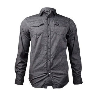 INC International Concepts Men's Studded Button-Front Shirt (Charcoal, S) - S
