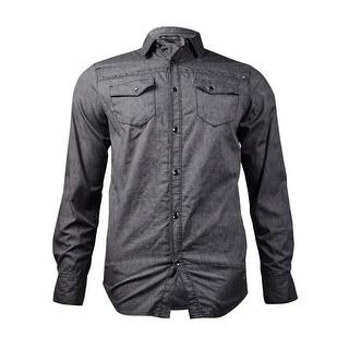 INC International Concepts Men's Studded Button-Front Shirt (Charcoal, S)