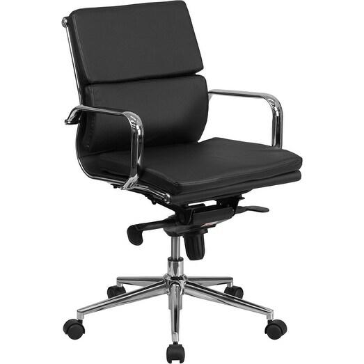 Silkeborg Mid-Back Black Leather Stylish Executive Swivel Chair w/Synchro-Tilt Mechanism & Arms