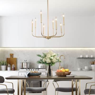 Mid-century Modern Gold 8-Light French Country Candle Chandelier