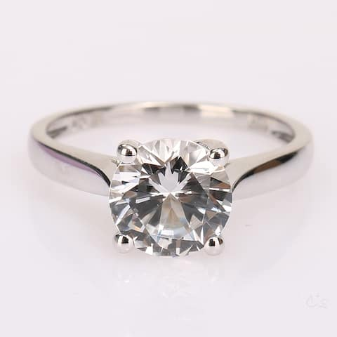 2 3/8ct TGW Created White Sapphire Solitaire Engagement Ring in 10k White Gold by Miadora