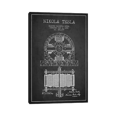 """iCanvas """"Electro Motor Charcoal Patent Blueprint"""" by Aged Pixel Canvas Print"""